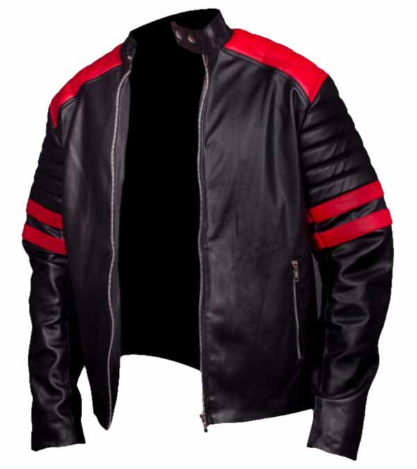 $40 off on Brad Pitt Black Leather Biker Jacket