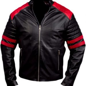 Brad Pitt Red & Black Real Leather Jacket