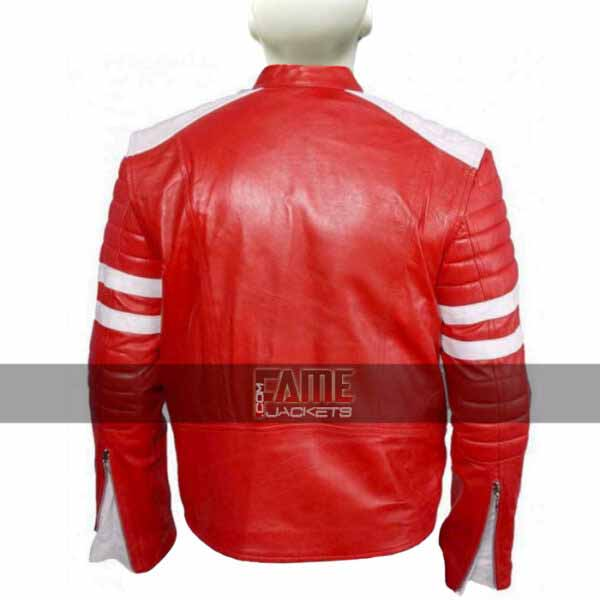 Buy at $30 Off - Brad Pitt Red and White Leather Jacket