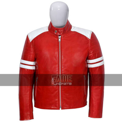 $30 Off at Brad Pitt Red and White Biker Leather Jacket