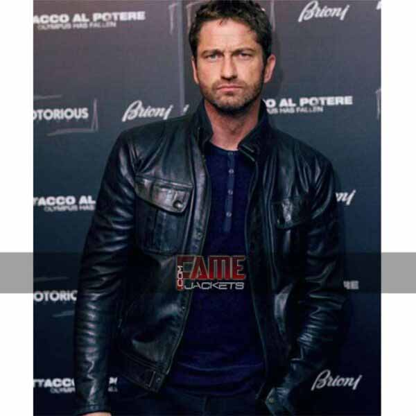 gerard butler mike black leather jacket