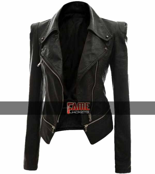 Alabama black slim fit biker leather jacket