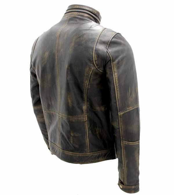 Distressed Brown Real Cowhide Leather Cafe Racer Jacket