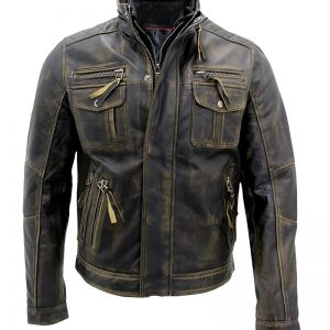 $40 off - Cafe Racer Distressed Metal Brown Genuine Leather Jacket
