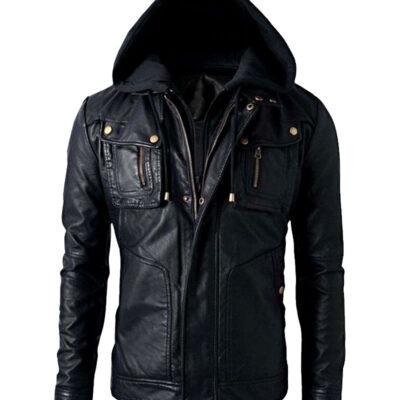 $40 off - Mens Brando Biker Leather Hoodie Jacket