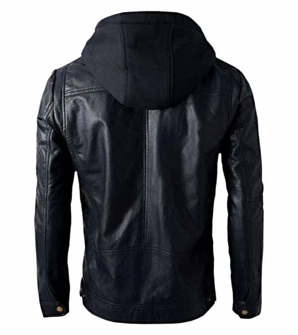 Women Men Black Faux Leather Biker Jacket