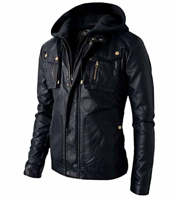 Women Men Motorcycle Black Leather Hooded Jacket