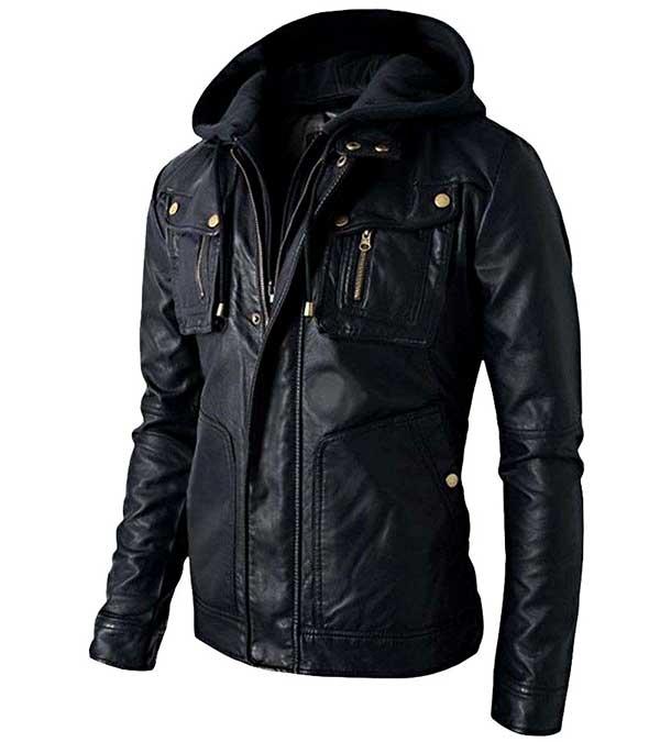 edd3880c8 Motorcycle Brando Style Biker Leather Hooded Jacket