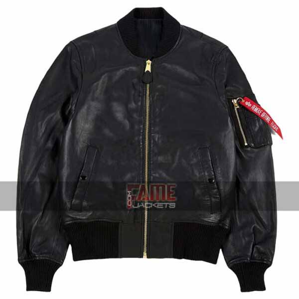 Buy MA1 Flying Bomber Black Leather Jacket