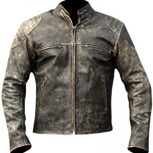 $50 Off on Men's Cafe Racer Vintage Retro Moto Cowhide Jacket