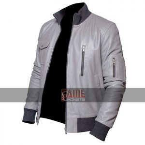 Buy German Flag Grey Leather Jacket