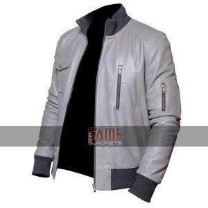 Buy German Flag Grey Leather Jacket