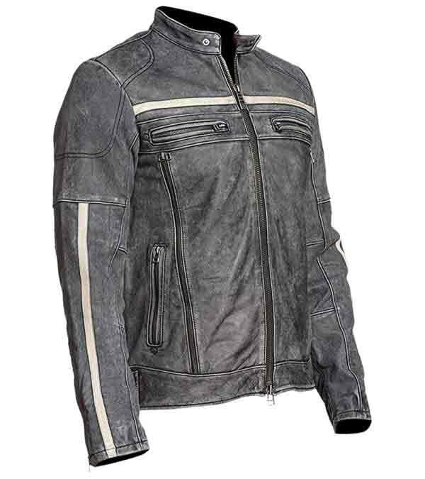 $40 Off on Affliction Cafe Racer Vintage Distressed Grey Leather Biker Jacket