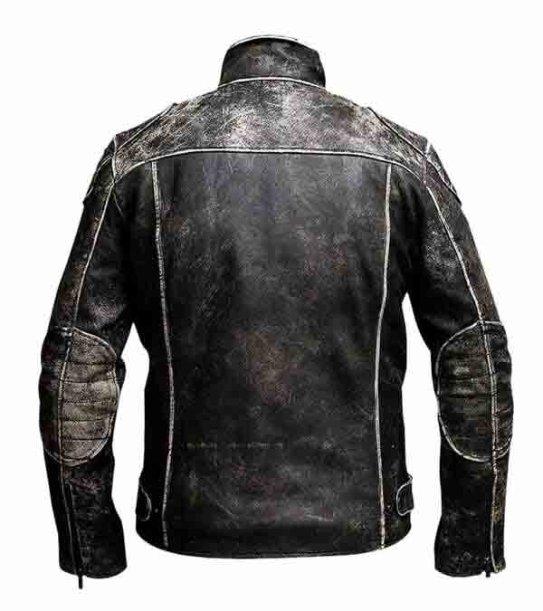 Buy Distressed Black Biker Suede Leather Jacket