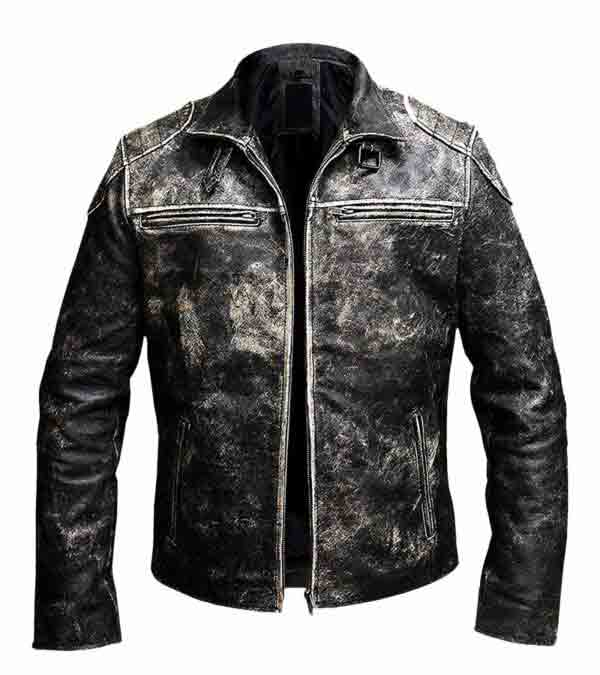 $40 Off - Gents Retro Distressed Black Antique Biker Real Leather Jacket