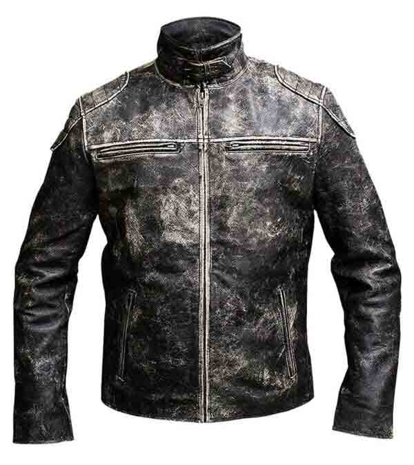 Buy Distressed Black Antique Motorcycle Real Leather Jacket