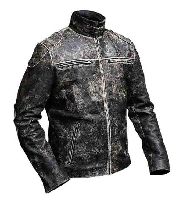 Get Retro Distressed Black Biker Genuine Leather Jacket