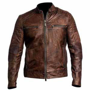 $50 Off on Gents Cafe Racer Brown Distress Real Leather Jacket