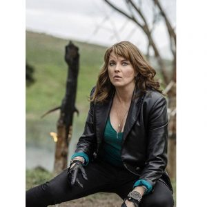 Lucy Lawless Black Leather Blazer