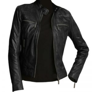 Stylish Women Casual Black Leather Biker Jacket