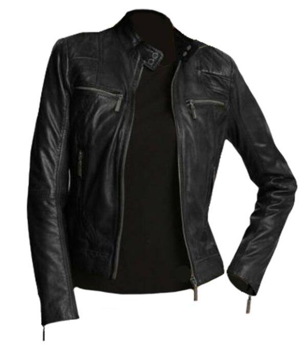 Stylish Women Casual Black Leather Biker Jacket