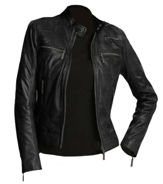 New Women/'s Black Slim Fit Biker Style Moto Real Leather Jacket