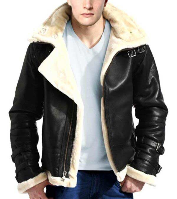 d2574efcc B3 Flight Bomber Real Leather Fur Black Leather Hooded Jacket