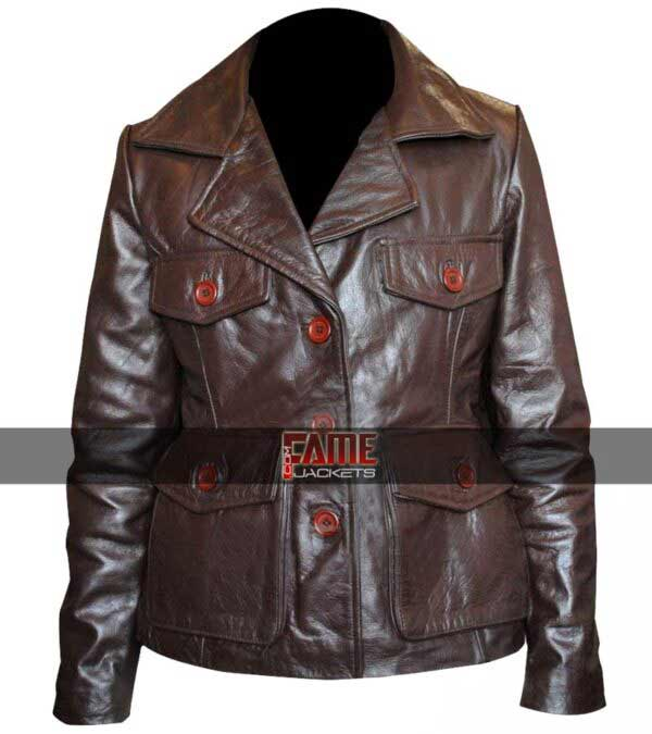 Jill Keri Russell Brown Real Leather Jacket