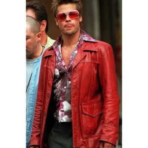 Get Brad Pitt Fight Club Tyler Durden Real Red Leather Jacket