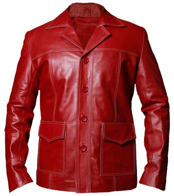 $40 Off on Brad Pitt Tyler Durden Red Leather Jacket