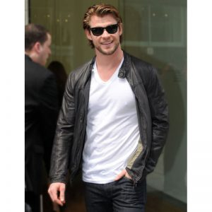 Buy Chris Hemsworth Men's Black Leather Biker Jacket