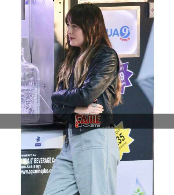 Dakota Johnson Covers Black Leather jacket