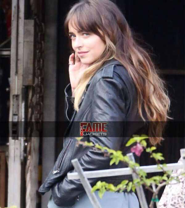 Dakota johnson Covers Black Leather Slim Fit jacket