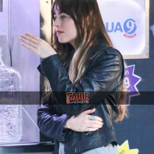 Dakota Johnson Black Real Leather jacket