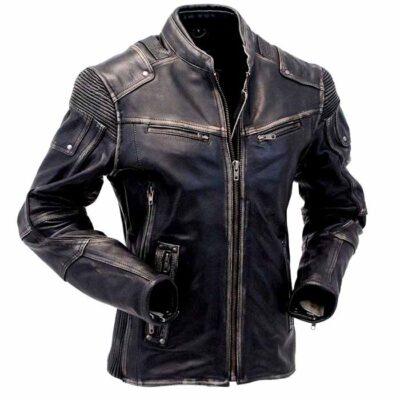 $61 Off on Men's Vintage Biker Style Cafe Racer Real Leather Jacket