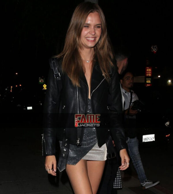josephine skriver black genuine biker leather jacket