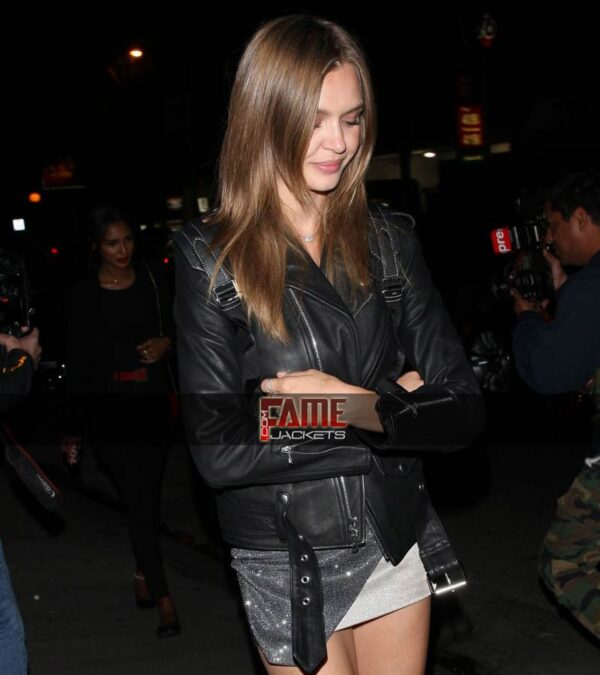 Josephine skriver black genuine biker jacket