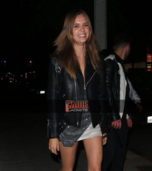 josephine skriver slim fit black real leather jacket