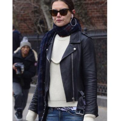 Katie Holmes Miss Meadow Black Leather Jacket