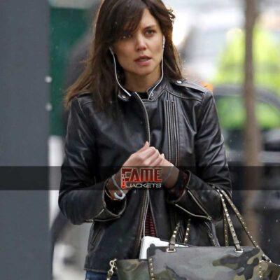 Katie Holmes Distress black leather jacket