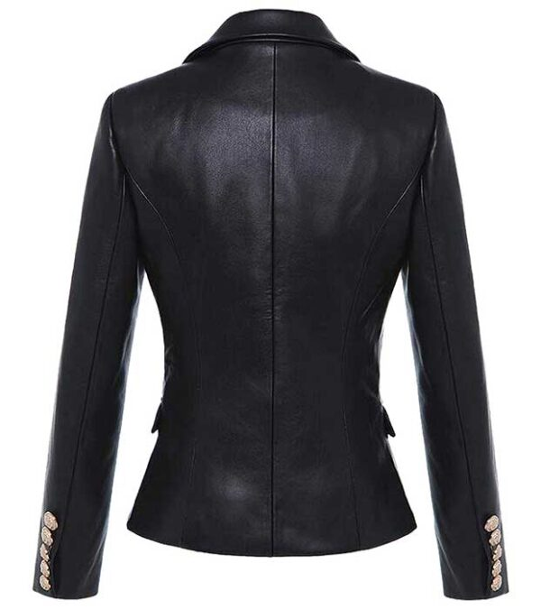 Kim Kardashian Double Breasted Genuine Black Leather Blazer