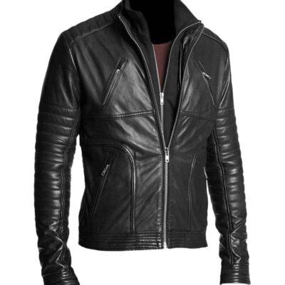 Buy Gents Double Zipper Biker Black Leather Jacket