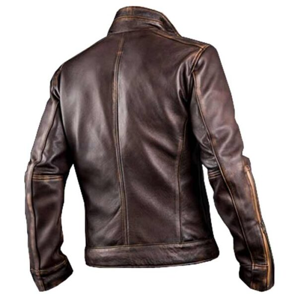 Gents Café Racer Vintage Brown Leather Biker Jacket at $60 off Sale