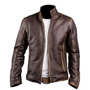 $60 Off on Men's Café Racer Vintage Real Brown Leather Biker Jacket