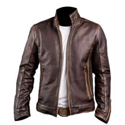 $70 Off on Men's Café Racer Vintage Real Brown Leather Biker Jacket