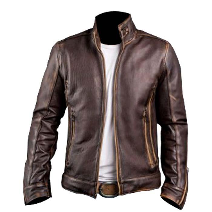 Men/'s Real Leather Brown Biker Vintage Motorcycle Distressed Cafe Racer Jacket