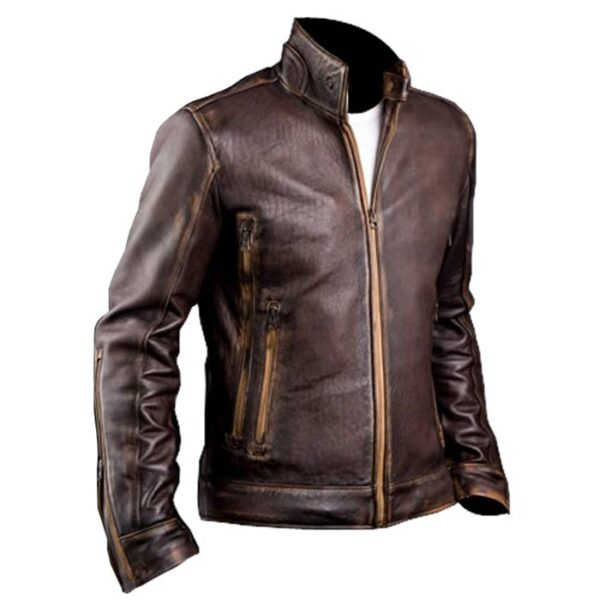 Buy at $60 off - Gents Café Racer Vintage Brown Leather Motorcycle Jacket