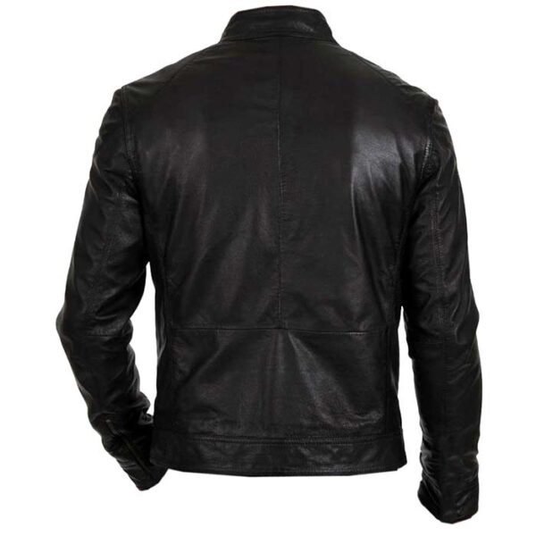 Buy Men's Biker Hunt Faux Black Lather Motorcycle Jacket at $50 off Sale