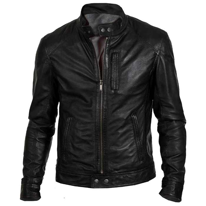 Men Biker Hunt Black Leather Motorcycle Jacket Famejackets