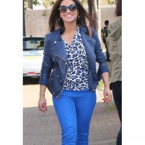 Susanna Reid Women Blue Real Leather Jacket